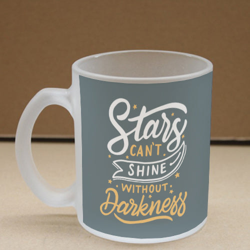 Stars Shines In Darkness Frosted Glass Coffee Mug