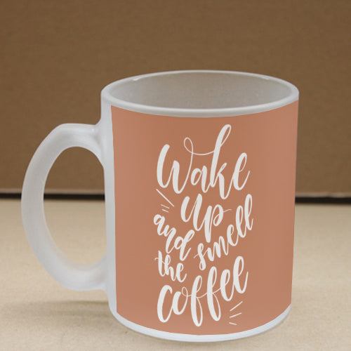 Smell Coffee Frosted Glass Coffee Mug