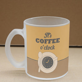 Coffee O'Clock Frosted Glass Coffee Mug