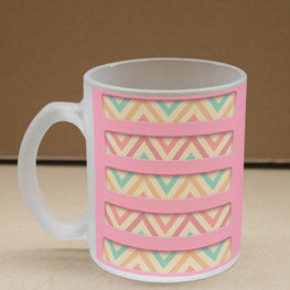 Pink Zigzag Frosted Glass Coffee Mug