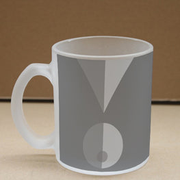 Grey Triangle Circle Frosted Glass Coffee Mug