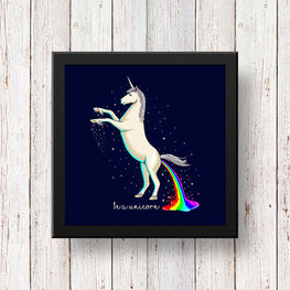 Art Frame Wall Hanging or Office Desk Accessory Unicorn Typography