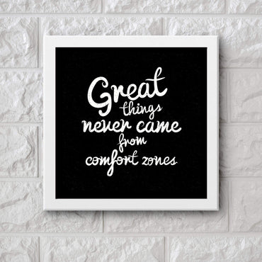 Art Frame Wall Hanging or Office Desk Accessory Comfort Zone Typography
