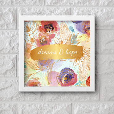 Art Frame Wall Hanging or Office Desk Accessory Dreams and Hopes Typography