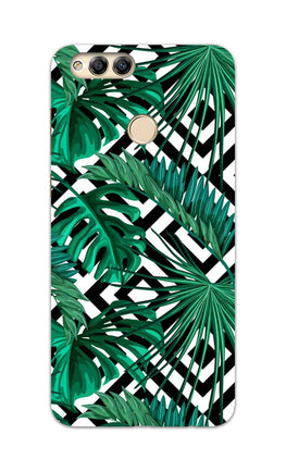 Tropical Leaves With Diamond Pattern Honor 7X Mobile Cover Case