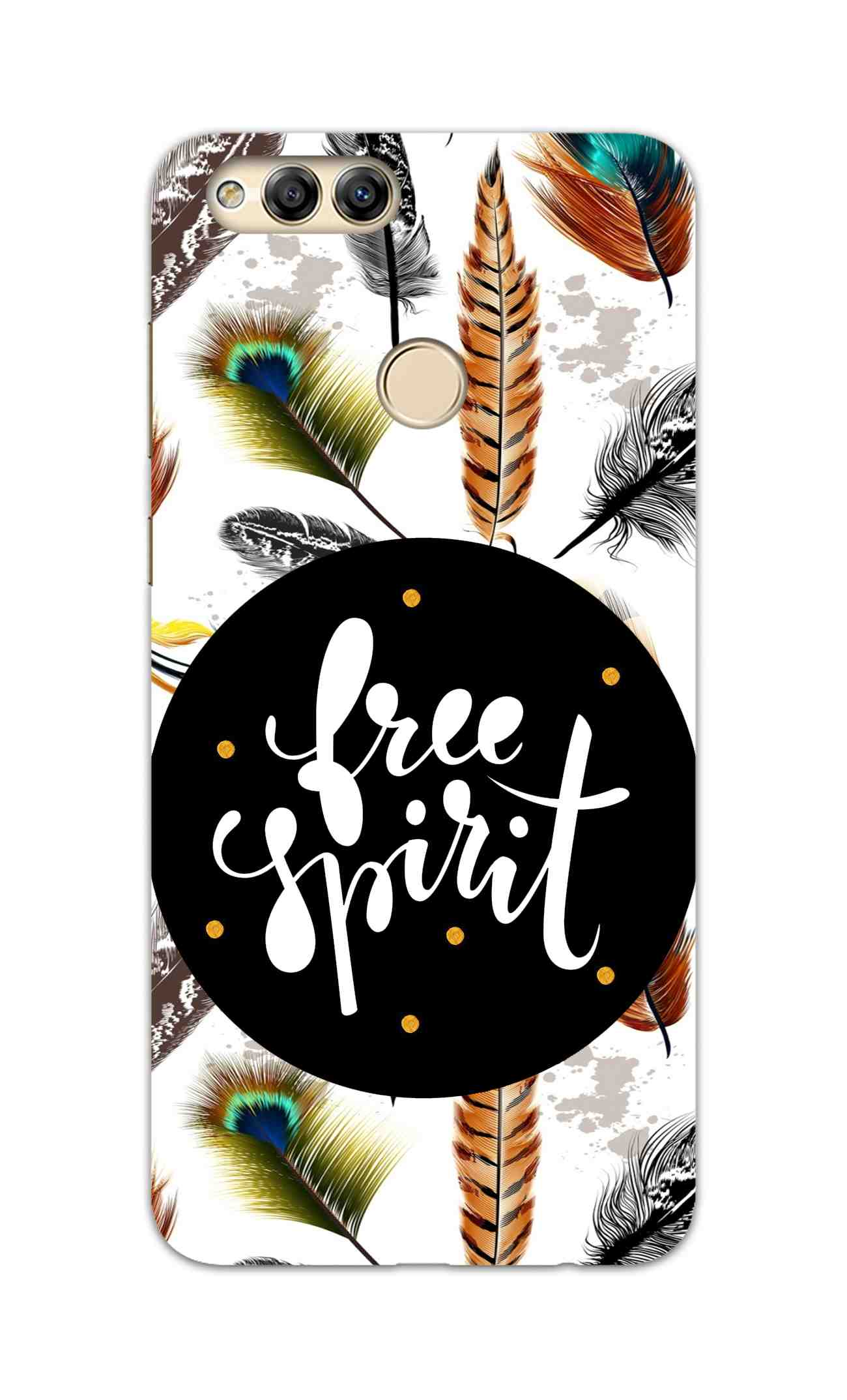 Free Spirit Colorful Feathers Pattern Honor 7X Mobile Cover Case