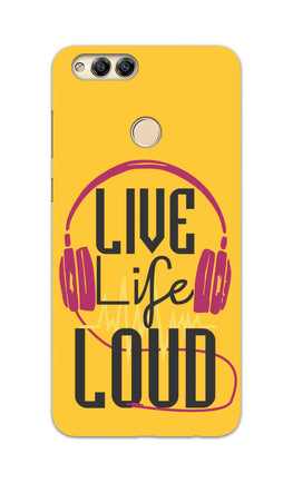 Live Life Loud headphone Quote Yellow Honor 7X Mobile Cover Case
