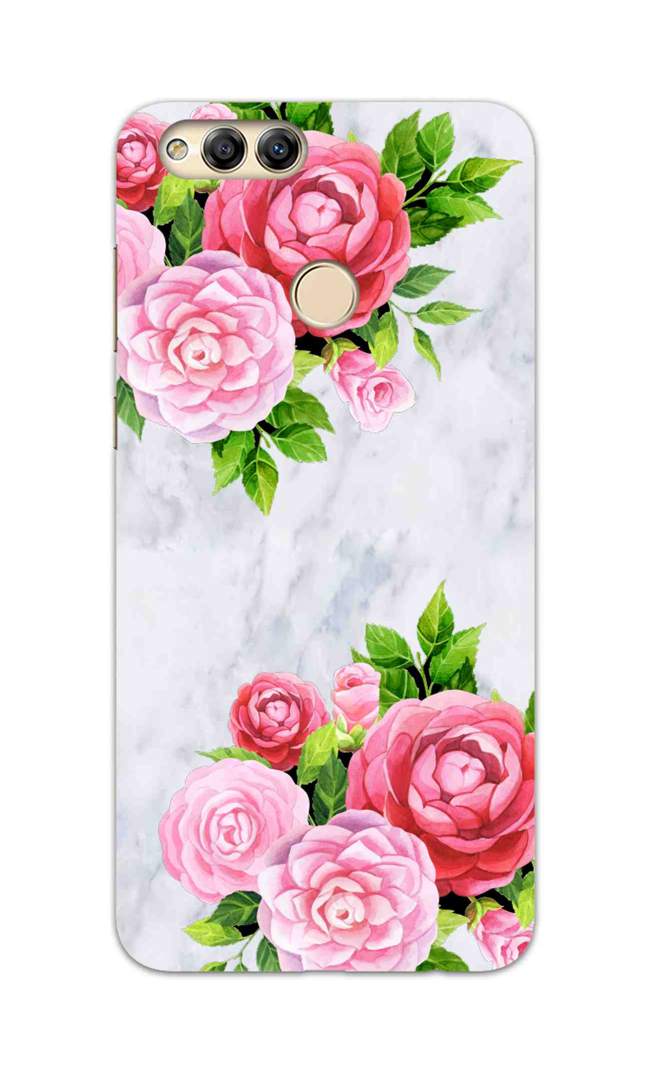 Pink Roses Floral Marble So Girly Honor 7X Mobile Cover Case