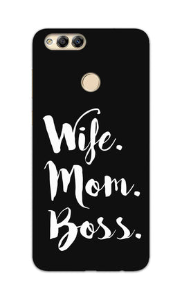 Wife Mom Boss Typography Honor 7X Mobile Cover Case