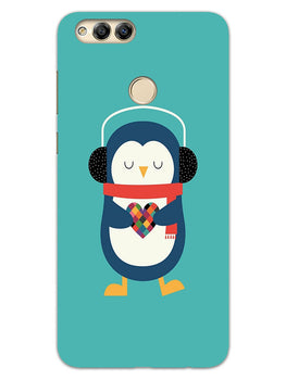 Cute Penguin Fall In Love Honor 7X Mobile Cover Case