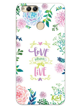 Love Where You Live Floral Honor 7X Mobile Cover Case