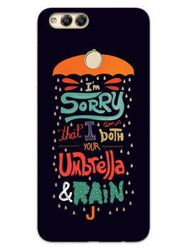 Umbrella And Rain Rainny Quote Honor 7X Mobile Cover Case