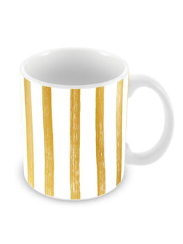 Gold Stripes Ceramic Coffee Mug