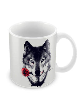 Rose Wolf Ceramic Coffee Mug
