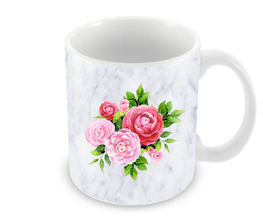 Pink Roses Floral Marble So Girly Ceramic Coffee Mug
