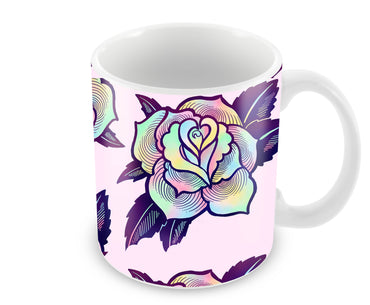 Trippy Flowers So Girly Pattern Ceramic Coffee Mug