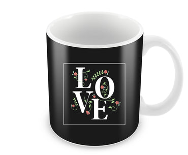 Floral Love Typography Valentine Gift Ceramic Coffee Mug