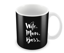 Wife Mom Boss Typography Ceramic Coffee Mug
