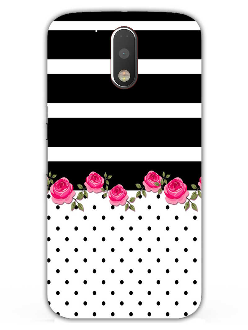 Rose Polka Stripes Moto G4 Plus Mobile Cover Case - MADANYU