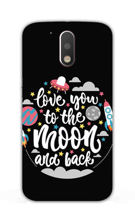 Love You Moon Space Surfing Lovers Moto G4 Plus Mobile Cover Case