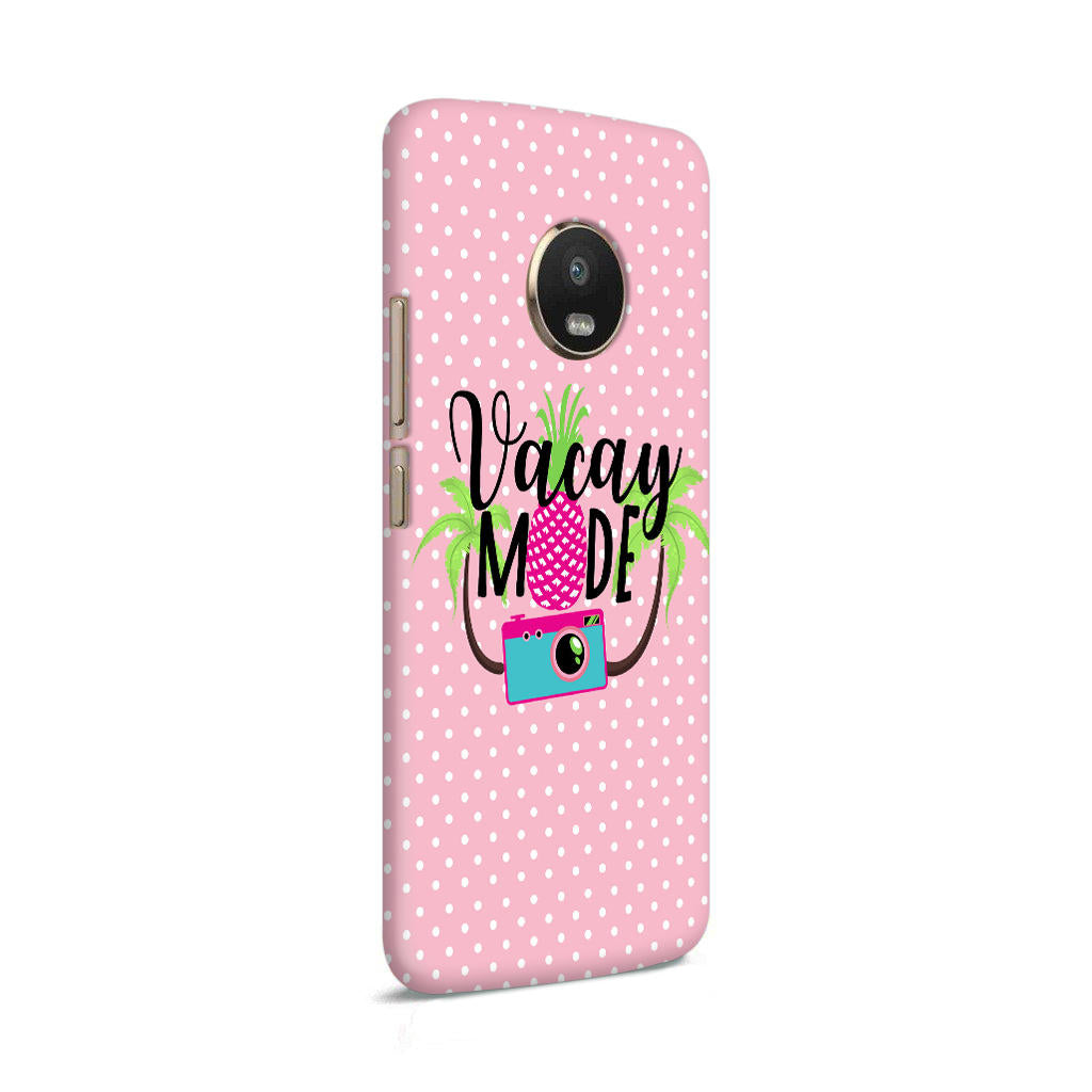 Vacay Mode With Cute White Dots Typography Moto G5 Plus Mobile Cover Case - MADANYU