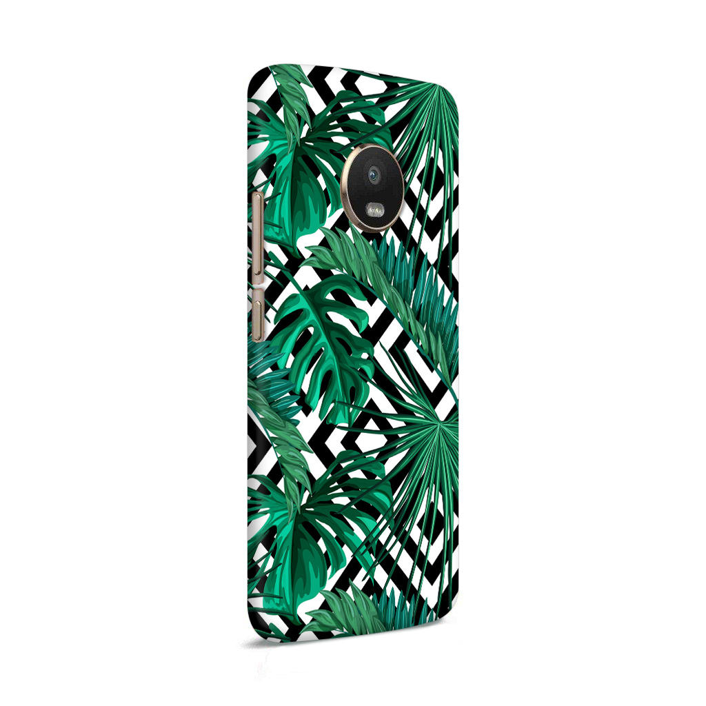 Tropical Leaves With Diamond Pattern Moto G5 Mobile Cover Case - MADANYU