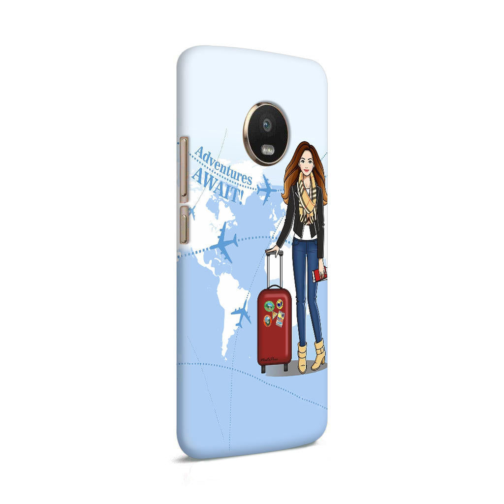 Girl Travel Adventure Await Moto G5 Mobile Cover Case - MADANYU