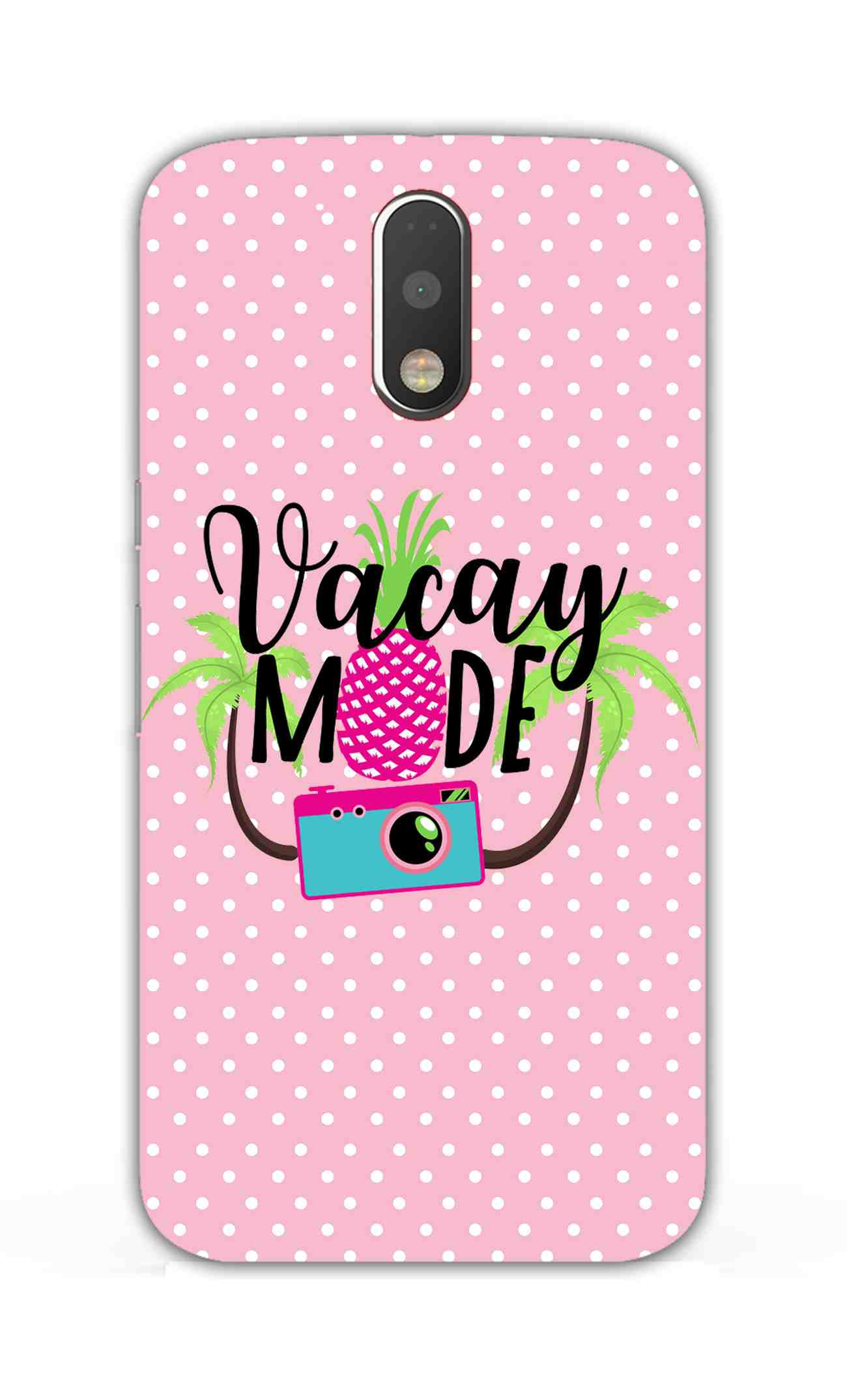 Vacay Mode With Cute White Dots Typography Moto G4 Plus Mobile Cover Case - MADANYU