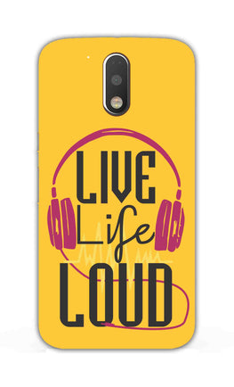 Live Life Loud headphone Quote Yellow Moto G4 Plus Mobile Cover Case