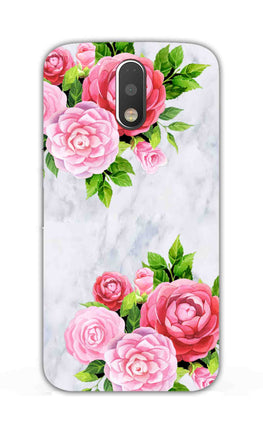 Pink Roses Floral Marble So Girly Moto G4 Plus Mobile Cover Case