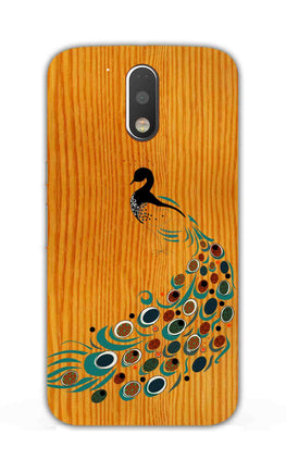 Peacock On Wood So Girly Pattern Moto G4 Plus Mobile Cover Case