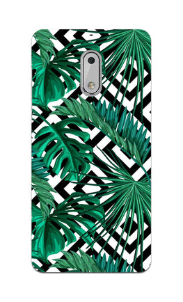 Tropical Leaves With Diamond Pattern Nokia 6 Mobile Cover Case