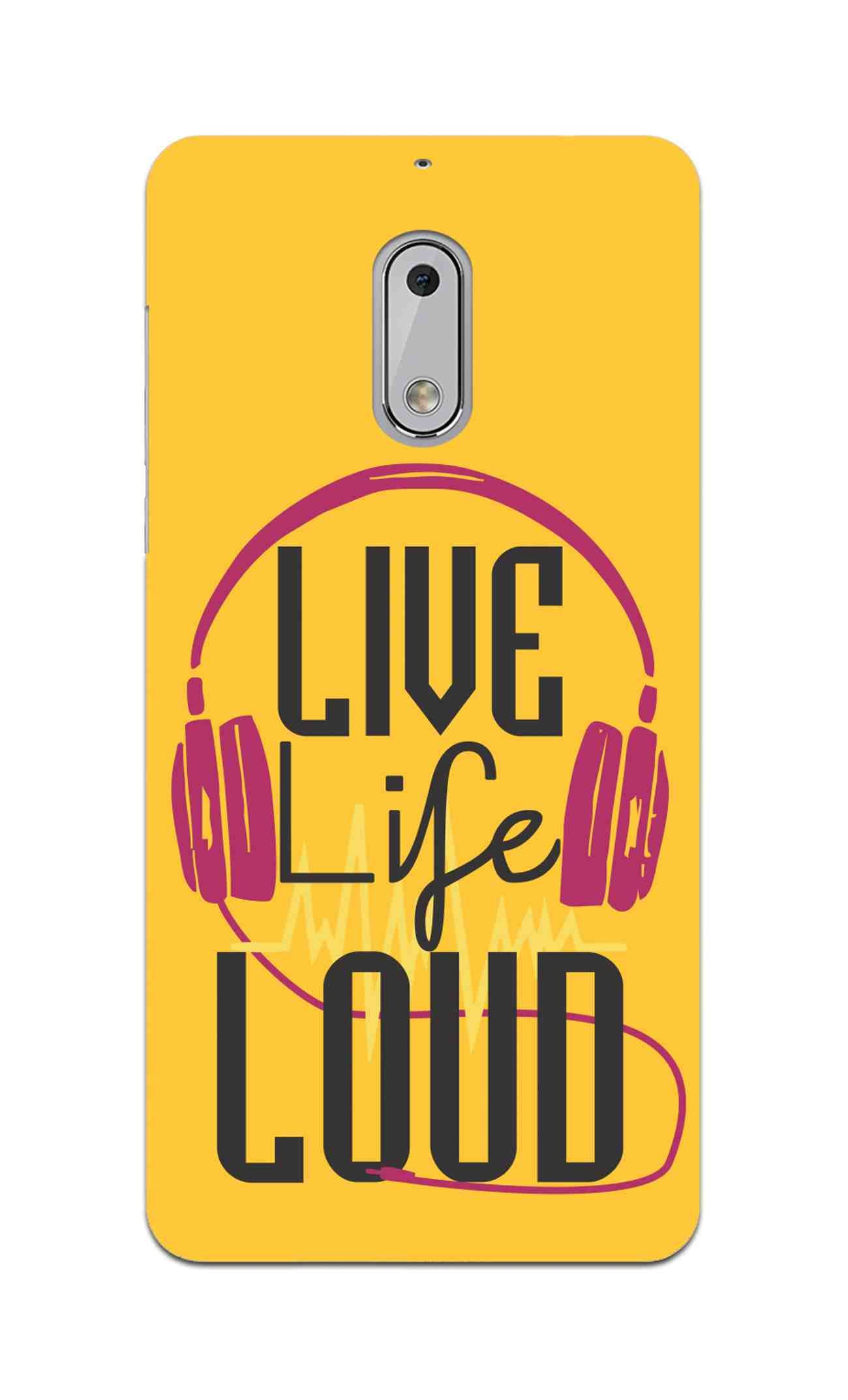 Live Life Loud headphone Quote Yellow Nokia 6 Mobile Cover Case