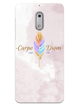 Carpe Diem Good Vibes Colorful Feather Nokia 6 Mobile Cover Case