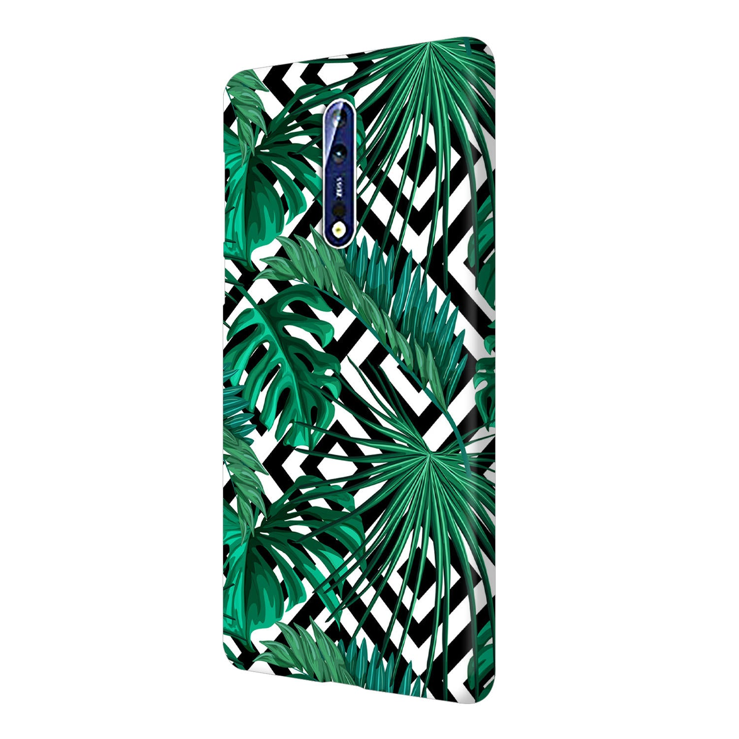 Tropical Leaves With Diamond Pattern Nokia 8 Mobile Cover Case