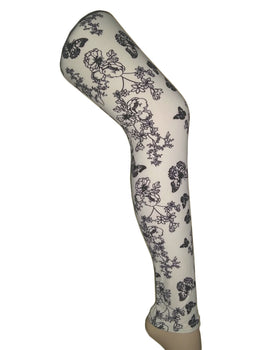 Premium Super Soft Stretchable Free Size Off White Floral Printed Leggings for Women