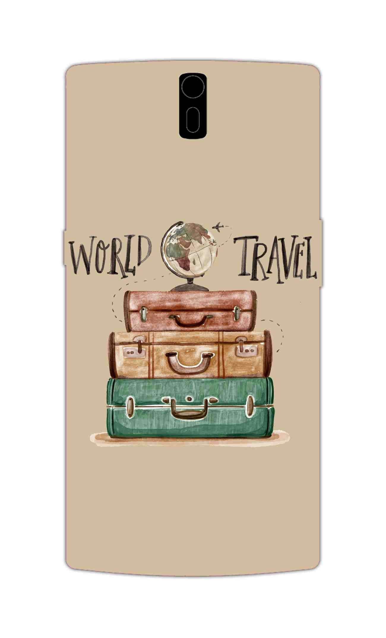 Travel World With Bags For Travellers OnePlus 1 Mobile Cover Case - MADANYU