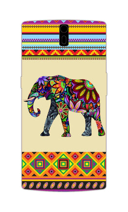 Colorful Elephant Azetec Pattern  OnePlus 1 Mobile Cover Case