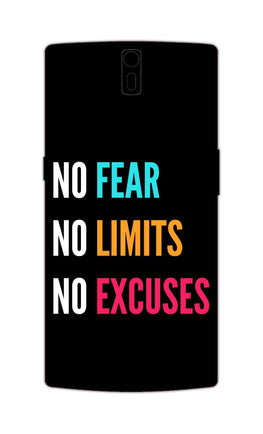 No Fear No Limits No Excuses Motivation Quote OnePlus 1 Mobile Cover Case