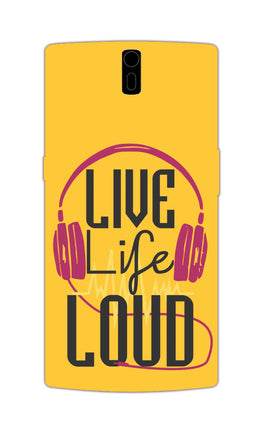 Live Life Loud headphone Quote Yellow OnePlus 1 Mobile Cover Case