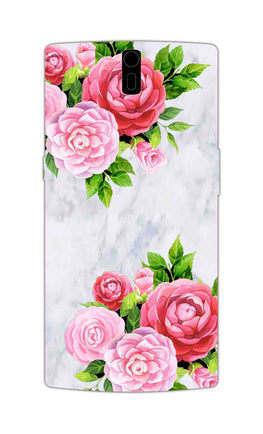 Pink Roses Floral Marble So Girly OnePlus 1 Mobile Cover Case