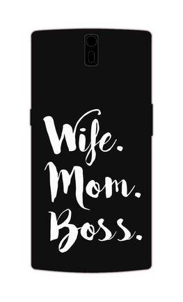 Wife Mom Boss Typography OnePlus 1 Mobile Cover Case