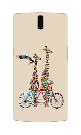 Giraffe Cycling Enjoy Life Funny For Animal Lovers OnePlus 1 Mobile Cover Case