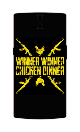 Gun And Chicken For Winner Typography Art OnePlus 1 Mobile Cover Case
