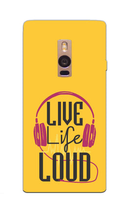 Live Life Loud headphone Quote Yellow OnePlus 2 Mobile Cover Case