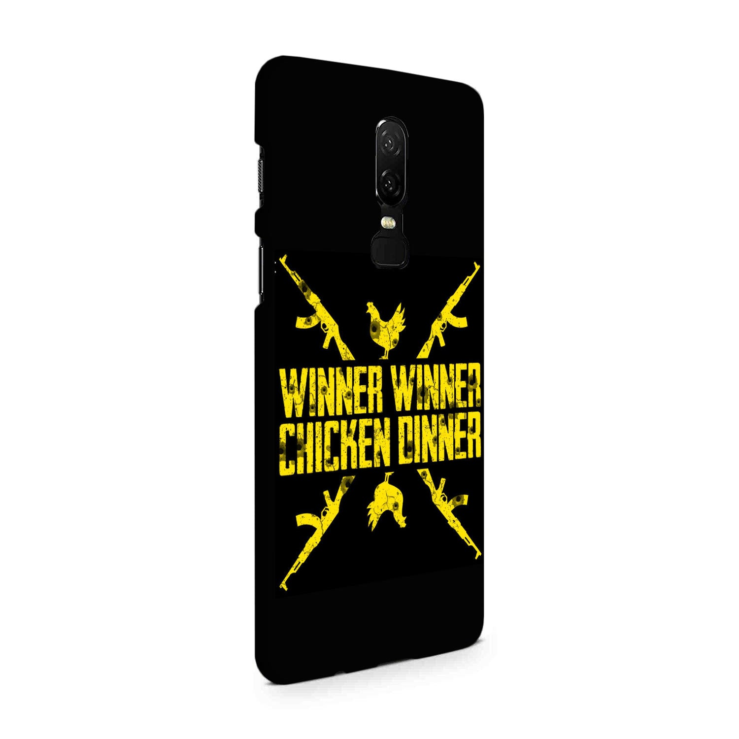 Gun And Chicken For Winner Typography Art OnePlus 6 Mobile Cover Case - MADANYU
