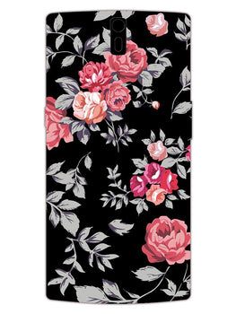 Black Floral Blooming Roses OnePlus 1 Mobile Cover Case