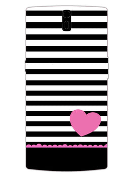 Stripes Heart Pink OnePlus 1 Mobile Cover Case
