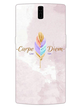 Carpe Diem Good Vibes Colorful Feather OnePlus 1 Mobile Cover Case