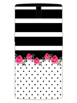 Rose Polka Stripes OnePlus 1 Mobile Cover Case